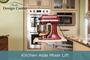 Add storage in your kitchen island for a Kitchen Aide Mixer Lift